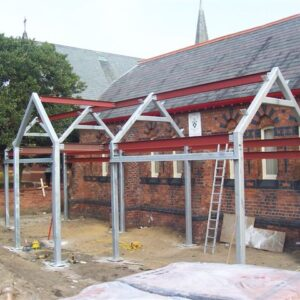 Mild steel metal building framework