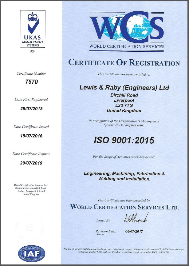 ISO 9001 2015 Lewis and Raby